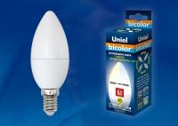 Лампа светодиодная Uniel E14  6Вт свеча BICOLOR 450Лм