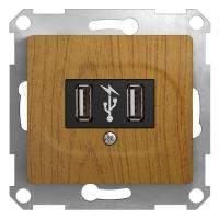 SchE GLOSSA дуб мех-зм розетки 2-м. USBх2
