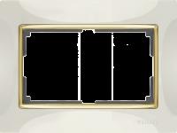 WERKEL SNABB Рамка для двойной розетки (слоновая кость/золото) WL03-Frame-01-DBL