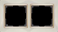 WERKEL SNABB Рамка на 2 поста (слоновая кость/золото) WL03-Frame-02