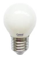 Лампа светодиодная General E27 7Вт шар филаментный матовый 4500К 530Лм