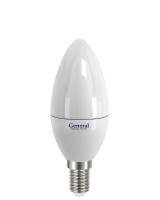 Лампа светодиодная General E14 5Вт свеча 2700К эконом РАСПРОДАЖА!